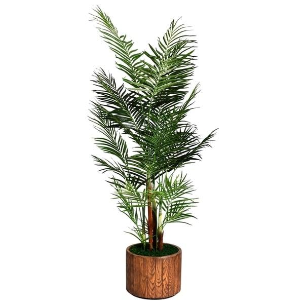"Laura Ashley 81"" Tall Areca Palm Tree in 16"" Fiberstone Planter"