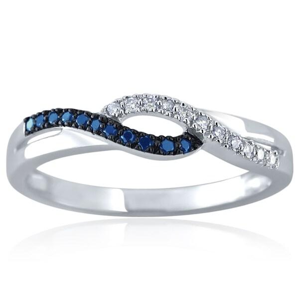 10k White Gold 1/10ct TDW Blue and White Diamond Ring (H-I, I1-I2)