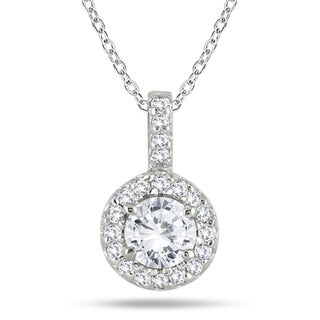 Marquee Jewels 10k White Gold 1/2ct TDW Diamond Halo Necklace