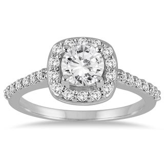 14k White Gold 1 1/10ct TDW Diamond Halo Engagement Ring