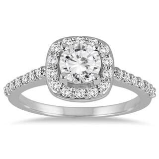 14k White Gold 1 1/10ct TDW Diamond Halo Engagement Ring