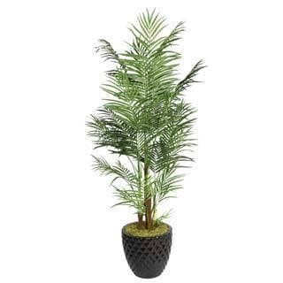 "Laura Ashley 82"" Tall Areca Palm Tree in 16"" Fiberstone Planter"