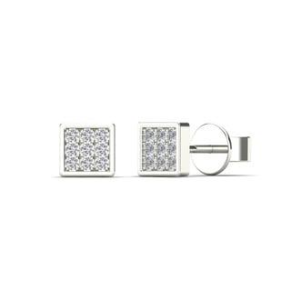 10k White Gold Children's Diamond Accent Square Tiny Stud Earrings