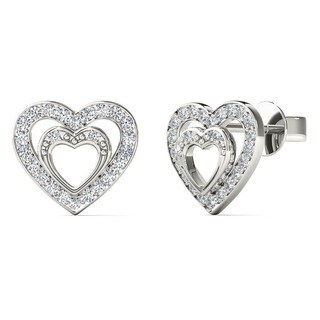 10k White Gold 1/6ct TDW Diamond Double Heart Tiny Stud Earrings (H-I, I2)