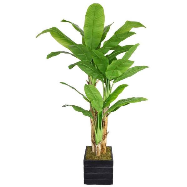 "78"" Tall Banana Tree with Real Touch Leaves in 14"" Fiberstone Planter"