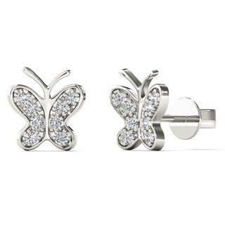 10k White Gold Diamond Accent Butterfly Tiny Stud Earrings