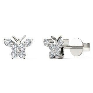 10k White Gold Children's 1/6ct TDW Diamond Butterfly Tiny Stud Earrings
