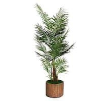 "Laura Ashley 73"" Tall Palm Tree in 16"" Fiberstone Planter"