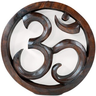 OHM Mahogany Wood Carved Hanging Wall Decor