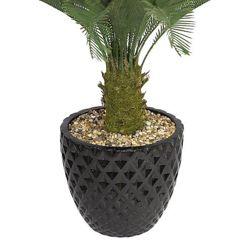 Laura Ashley 54-inch Tall Cycas Palm Tree in 16-inch Fiberstone Planter