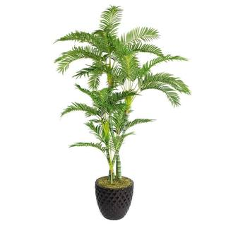 "Laura Ashley 78"" Tall Palm Tree in 16"" Fiberstone Planter"