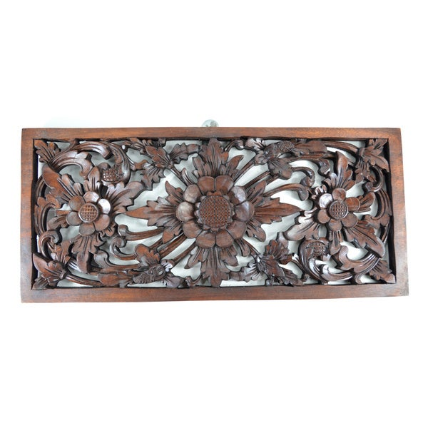 Rectangular Fl Wood Carved Hanging Wall Decor