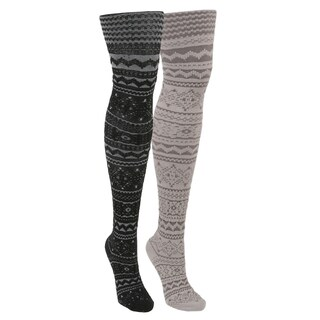 MUK LUKS Women's 2 Pair Pack Patterned Microfiber Tights - Multi