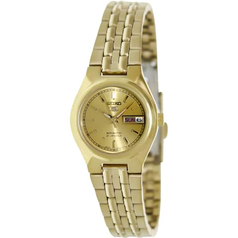 Seiko Women's 5 Automatic Gold Gold Tone Stainles-Steel Automatic Watch with Gold Dial