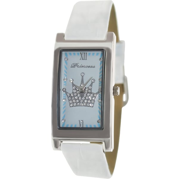 Disney Women's Princess 98559 White Leather Quartz Watch with White Dial