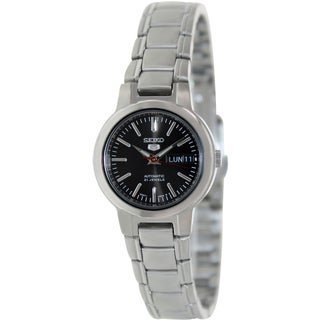 Seiko Women's 5 Automatic SYME43K Silver Stainless-Steel Automatic Watch with Black Dial