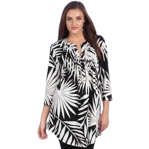 La Cera Women's Black/ White Printed Pleated Tunic