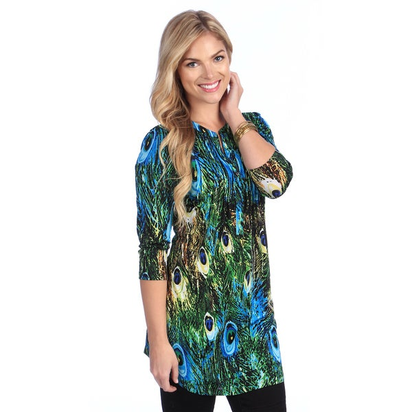 5df8ce5f2d9 Shop La Cera Women's Peacock Print Pleated Tunic - Free Shipping Today -  Overstock - 8438186