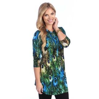 La Cera Women's Peacock Print Pleated Tunic|https://ak1.ostkcdn.com/images/products/8438186/La-Cera-Womens-Peacock-Print-Pleated-Tunic-P15733616.jpg?impolicy=medium