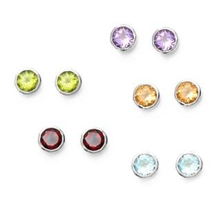 La Preciosa Sterling Silver Gemstone Circle Stud Earrings (Set of 5)
