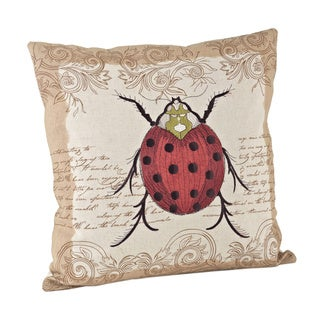 17-inch Lady Bug Design Down Fill Throw Pillow