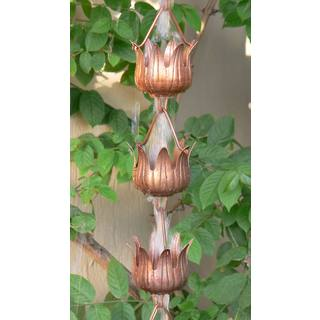 Monarch Pure Copper Flowerama Rain Chain 8.5-Foot Inclusive of Installation Hanger