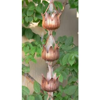 Monarch Pure Copper Flowerama Rain Chain 8.5-Foot Inclusive of Installation Hanger