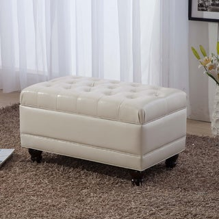 Luxury Comfort Collection Classic Creamy White Tufted Storage Bench Ottoman