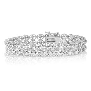 Sterling Silver 1/2ct TDW Diamond Double Row Bracelet