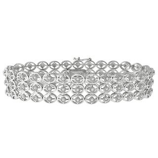 Sterling Silver 1ct TDW Diamond Triple Row Bracelet