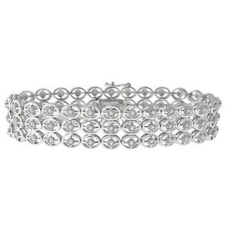 Sterling Silver 1ct TDW Diamond Triple Row Bracelet
