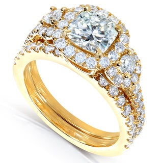 Annello by Kobelli 14k Gold Cushion-cut Moissanite and 1ct TDW Diamond Bridal Ring Set (G