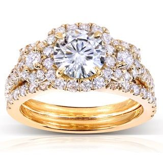 Annello by Kobelli 14k Gold Round Moissanite and 1 ct TDW Diamond 2-Piece Bridal Ring Set