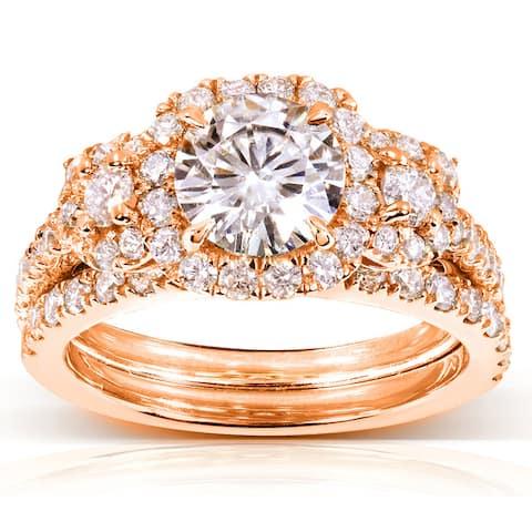 Annello by Kobelli 14k Gold 2ct TGW Round-cut Moissanite and Diamond Bridal Rings (2 Piece Set)