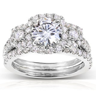 Annello by Kobelli 14k Gold 2ct TGW Round-cut Moissanite (HI) and Diamond Bridal Rings (2 Piece Set)
