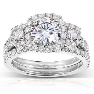 Annello by Kobelli 14k Gold 2ct TGW Round-cut Moissanite (HI) and Diamond Bridal Rings (2 Piece Set) (Option: 5.5)
