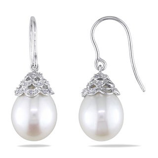 Miadora 14k Gold Cultured Freshwater Pearl 1/10ct TDW Diamond Earrings (G-H, I1-I2) (10.5-11 mm) wit