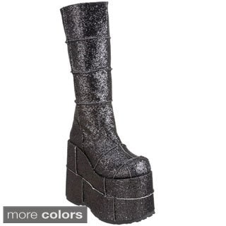 "Demonia Men's 'STACK-301G' 7"" Heel Goth Cyber GoGo Punk Patched Platform Knee High Boots"