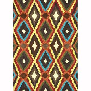 Indoor/ Outdoor Hand-hooked Portia Brown Rug (9'3 x 13')