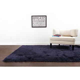 Hand-Tufted Evelyn Aubergine Shag Rug (3'6 x 5'6)