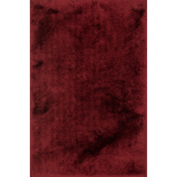 Hand-tufted Solid Garnet Mid-century Shag Rug - 9'3 x 13'