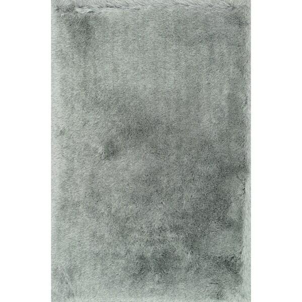 Hand-tufted Solid Platinum Mid-century Shag Rug - 9'3 x 13'