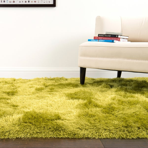 Hand-tufted Solid Citron Mid-century Shag Rug - 9'3 x 13'