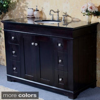 Natural Granite Top 48-inch Single Sink Bathroom Vanity in Espresso Finish