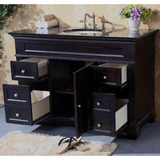 Natural Granite Top 48-inch Single Sink Bathroom Vanity in Espresso Finish