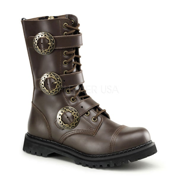 Demonia Men's 'Steam-12' Leather Steampunk Mid-calf Boots