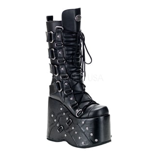 Demonia Men's 'Stack-318' Black Thick Platform Knee-high Boots