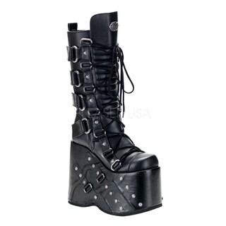 Demonia Men's 'Stack-318' Black Thick Platform Knee-high Boots