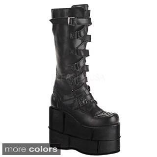 Demonia Men's 'Stack-308' Black Thick Platform Knee-high Boots