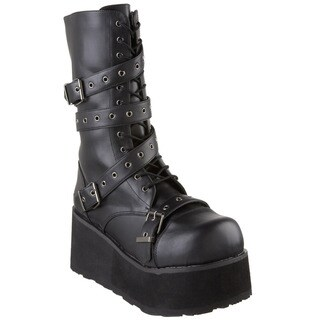 Demonia Men's 'Trashville-205' Black Lace-up and Strappy Platform Boots